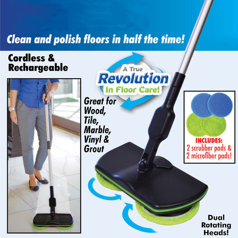 New Magic Easy Microfiber Electric Broom 360 Rotating Mop Spin Spray Foot Switch Mop Floor Cleaning Mop Easy Bucket Dust Broom Mops     -
