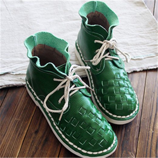 New 2016 autumn,Genuine leather shoes,Pure handmade ankle boot,The retro art mori girl shoes, Reaationary knit shoes,3 color
