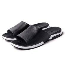 men sandals summer Leather Summer indoor non-slip soft-soled slippers comfortable outside lovers bathroom home slippers tide