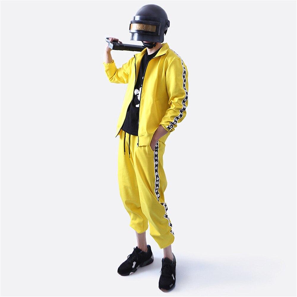 Campos de Batalha do Jogo Playerunknown PUBG Cosplay Pequeno amarelo frango comer roupas amarelas grupo de esportes Top + calça terno