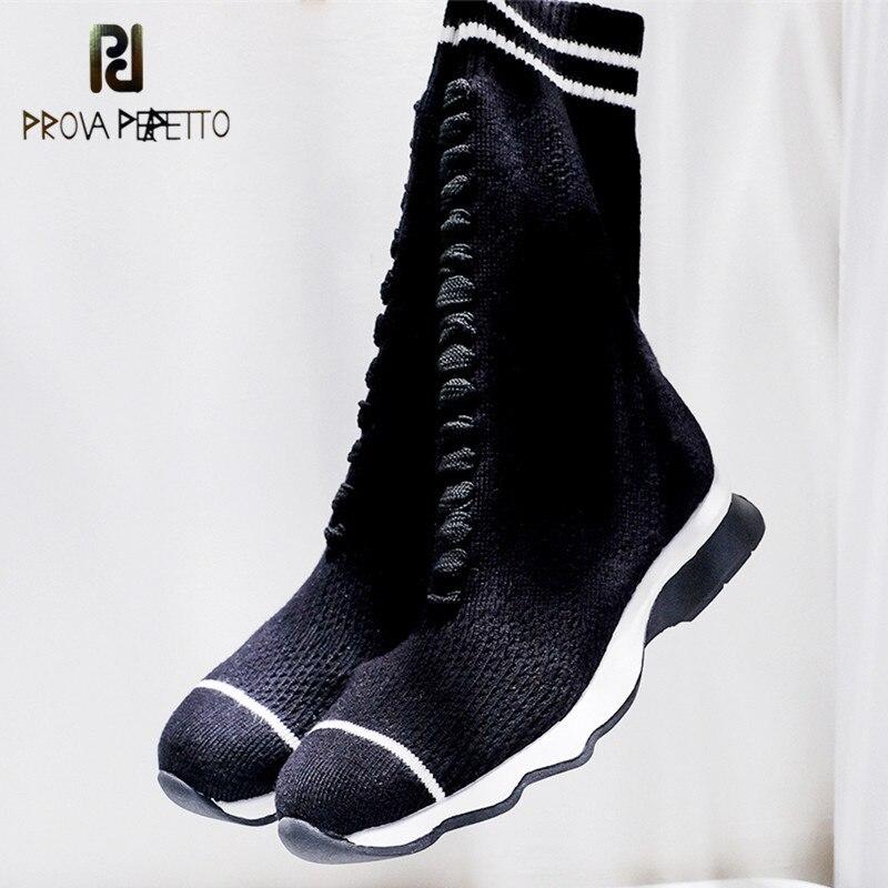 Prova Perfetto New Luxury Brand Women Socks Boots Zebra Stripe Designer Shoes Women High Mid Calf