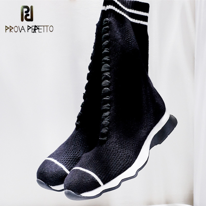 Prova Perfetto New Luxury Brand Women Socks Boots Zebra Stripe Designer Shoes Women High Mid-Calf Boots Elastic Slim Flats BootsProva Perfetto New Luxury Brand Women Socks Boots Zebra Stripe Designer Shoes Women High Mid-Calf Boots Elastic Slim Flats Boots