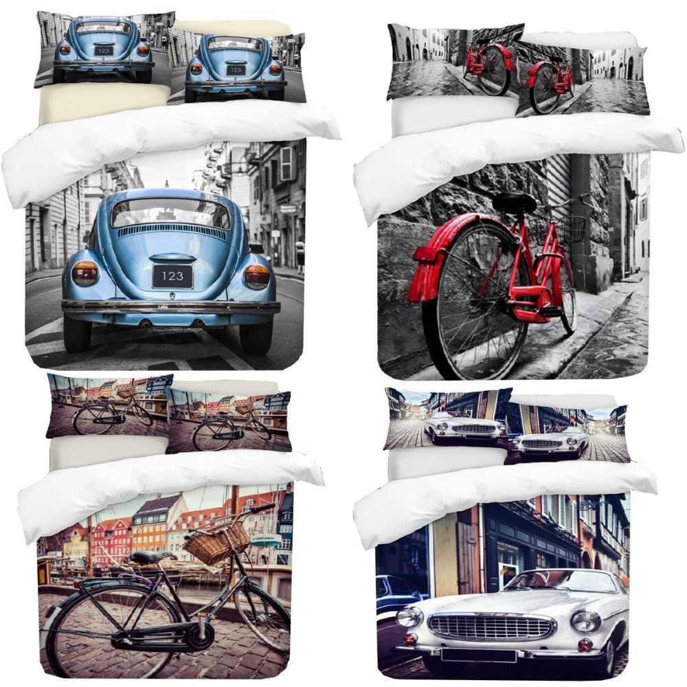 3D Photo Print Car & Bicycle Design Digital Duvet Quilt Cover With Pillowcases