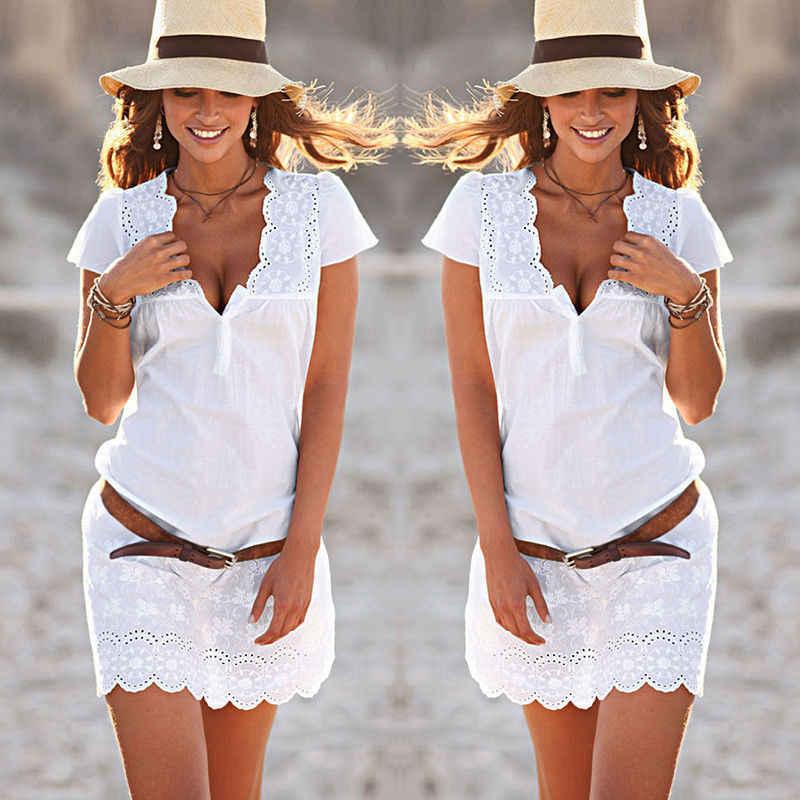 Новое Женское платье летние повседневные Короткие рукава v-образным вырезом открытые вечерние коктейльные пляжные кружевные короткие мини-платья