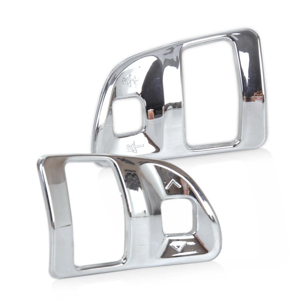 DWCX 2pcs ABS Chrome Car Interior Steering Wheel Switch Botton Molding Trim Cover for Kia Sportage R 2011 2012 2013 2014 2015 внешние аксессуары myhung kia sportage 2010 2011 r abs 4