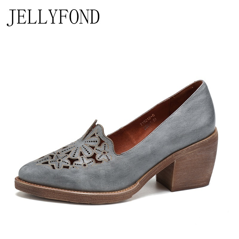 Handmade Genuine Leather Floral Cuts Out Women Pumps Vintage Style Pointed Toe Platform Thick High Heels Retro Shoes Woman yaerni 2017 retro style women shoes flats platform handmade flower genuine leather thick heels round toe women causal shoes