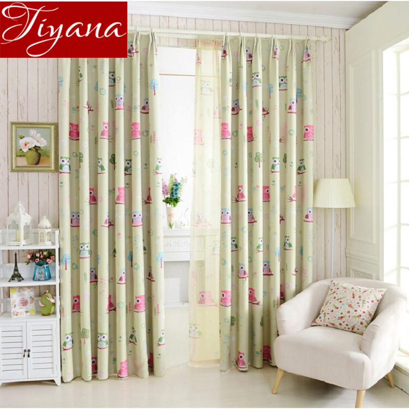 Cartoon Lovely Owl Curtains Imprimare Sheer Voile Window Ecran Dormitor Copii Boys Room Curtians Tulle Draps Blue Cortinas T & 220 # 20