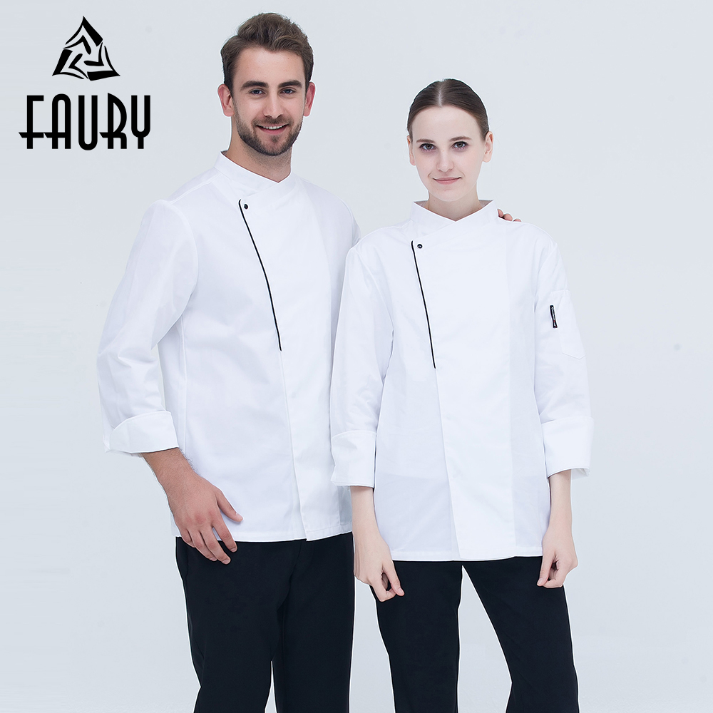 Unisex New Chef Workwear Uniforms Long-sleeved Coats Wholesale 2018 Restaurant Hotel Kitchen Master Cook Tops Clothing Overalls