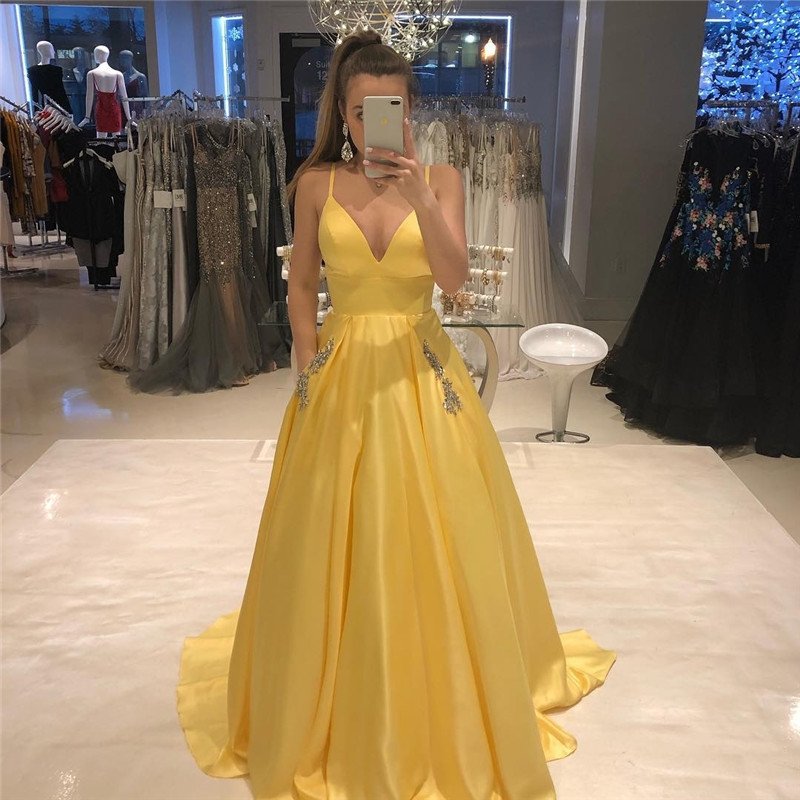 Yellow V-neck Long   Prom     Dresses   2019 with Pocket Formal Party   Dress   Shining Crystal A-line Backless vestidos de fiesta de noche