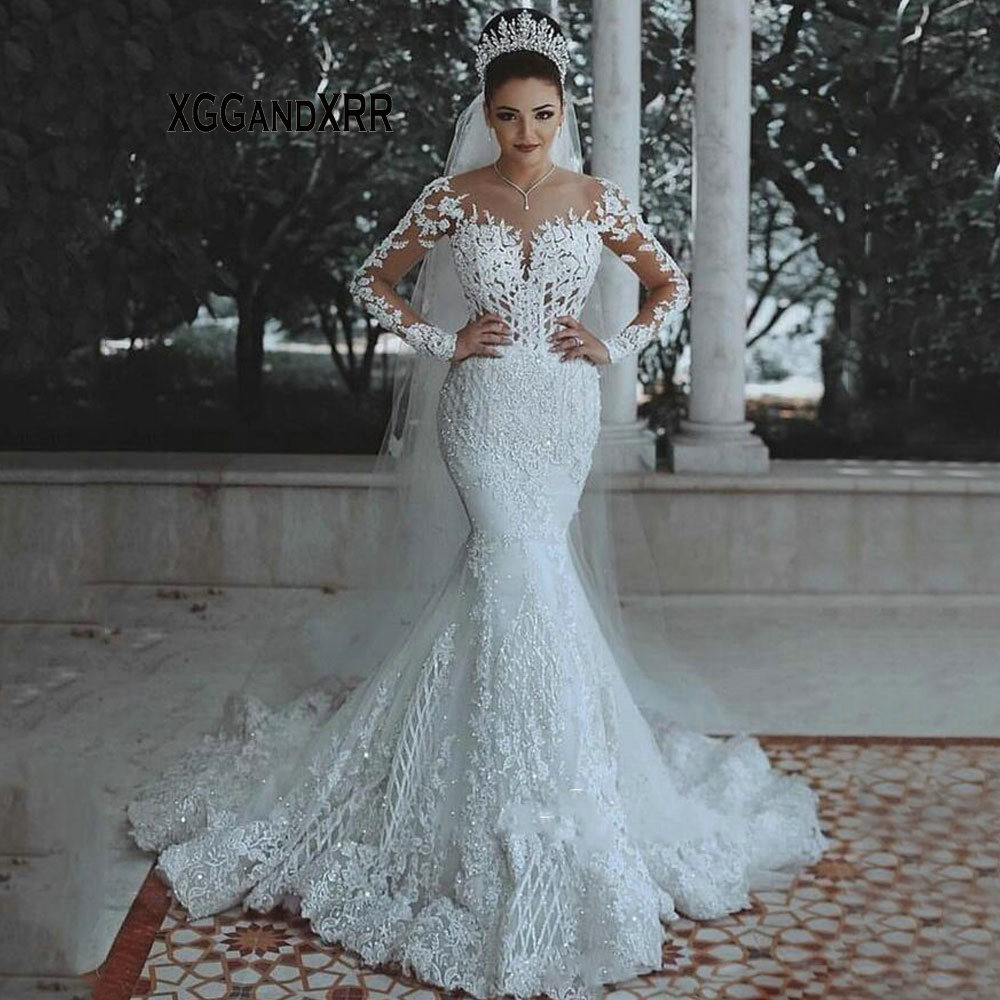 Luxury Long Sleeves Lace Wedding Dress 2019 Romantic Beaded See Through Back Lace Mermaid Bridal Gown Custom Made Bride Dress