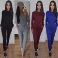 Fleece Women O Neck Fashion Solid 2 Pieces Women Set Long Sleeve Casual Outfits Women Suits
