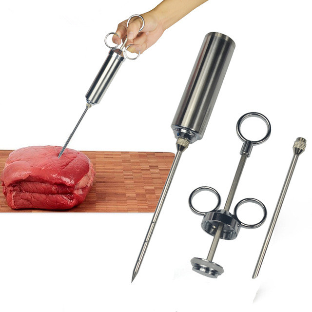 1PC Food Flavor Seasoning BBQ Meat Syringe Marinade Injector Kit Injection Gun with 2 Needles for Pork Chicken Turkey QA 117 image