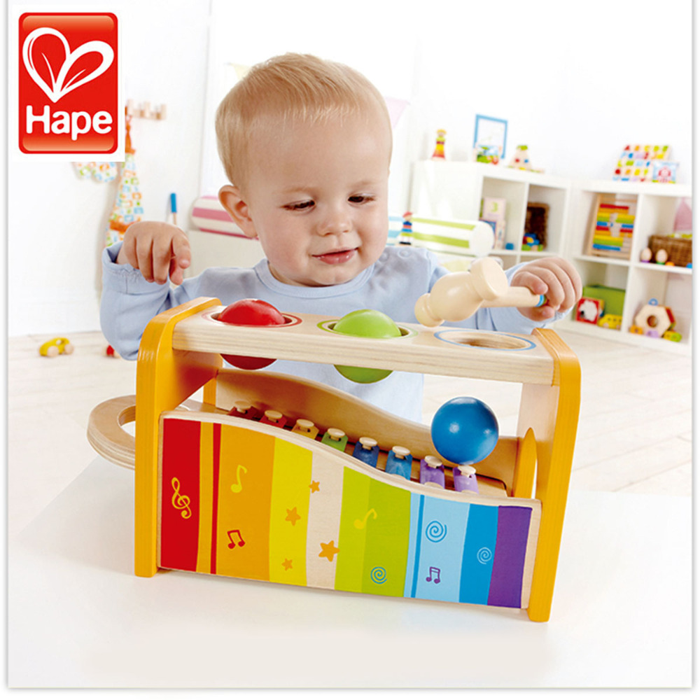HAPE Wood Children Boy Girl Enlightenment Music Instrument Early Melody Knocking Piano Game Toy