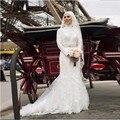 Старинные свадебное платье мусульманской с вуалью пышными рукавами кружева створки аппликации из бисера из органзы длинные свадебные платья суд поезд