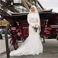 Vintage vestido de boda musulmán con velo completo cordón de las mangas Sash apliques con cuentas de Organza vestidos largos de novia tribunal tren
