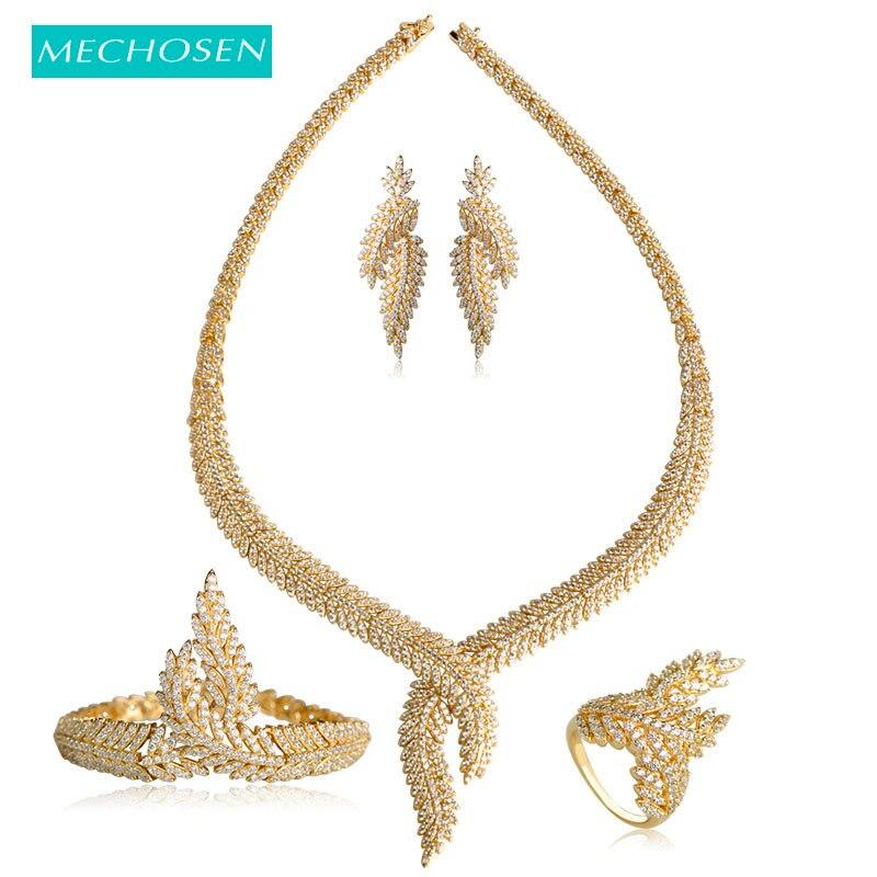 MECHOSEN Women Bridal Nigerian Wedding Jewelry Sets Gold Color Copper  Zirconia Leaves Necklace Earrings Ring Bracelet 1b227da473d4