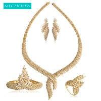MECHOSEN Women Bridal Nigerian Wedding Jewelry Sets Gold Color Copper Zirconia Leaves Necklace Earrings Ring Bracelet 4 Pcs Set