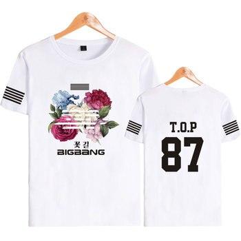 Camiseta de manga corta k-pop Korea Bigbang Flower Road Kpop de algodón para Fans de Bigbang, camisetas de moda para mujeres, camisetas de ídolo, ropa