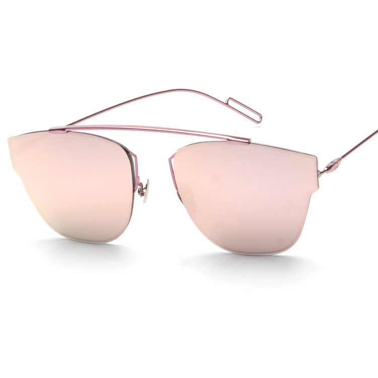 4d2508f3ad4 US $19.5 |Top quality New vintage cat eye Rimless sunglasses women flat top  brand metal reflective sun glasses D oculos gafas de sol 0204S-in ...