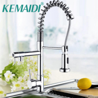Hello Mdoern Chrome Polish Pull Out Kitchen Faucet Torneira Deck Mount Dual Water Way 97168D054 Sprayer