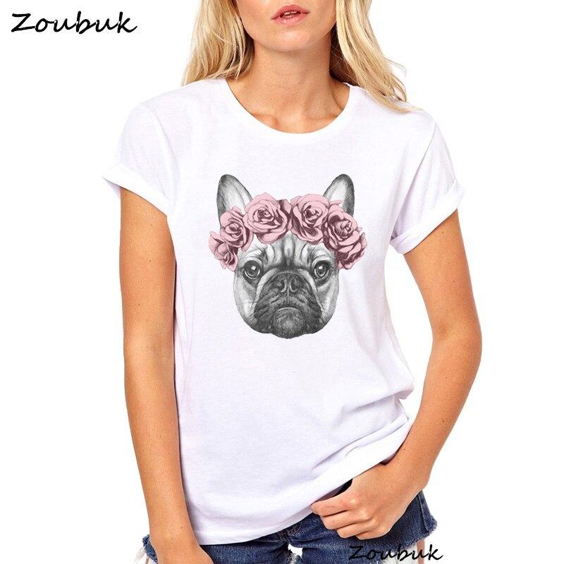 Con Las Flores Impresión Lindo De Mis Francés Bulldog Mejores Mujer Amigos Camiseta kiXuPZ