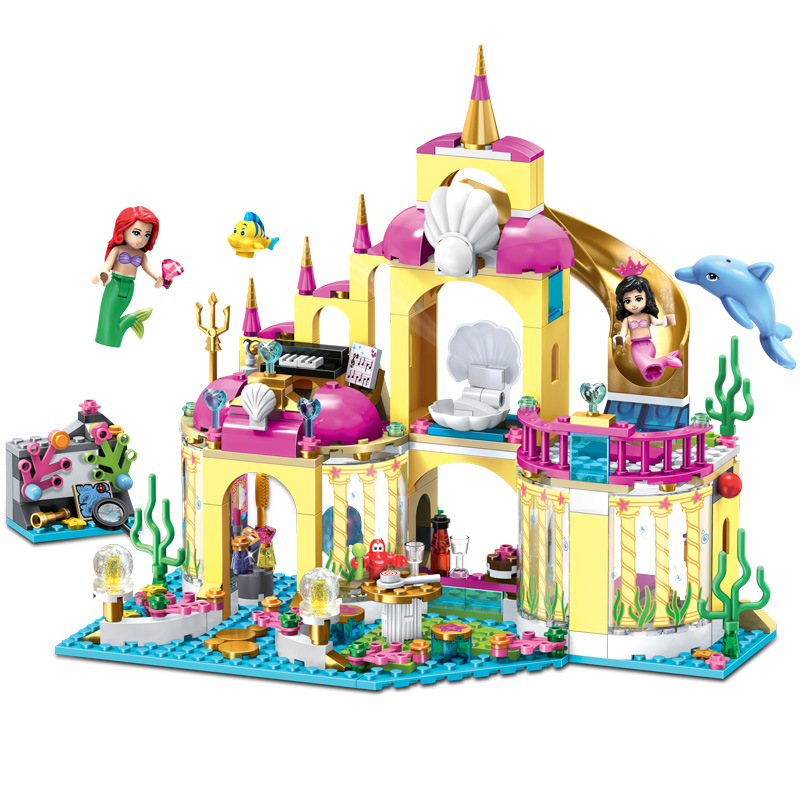 402pcs Fairy Figures Frozenn Mermaid Cinderella Building Blocks Compatible Legoe Friends City Disneyy Princess Castle Girl Toys
