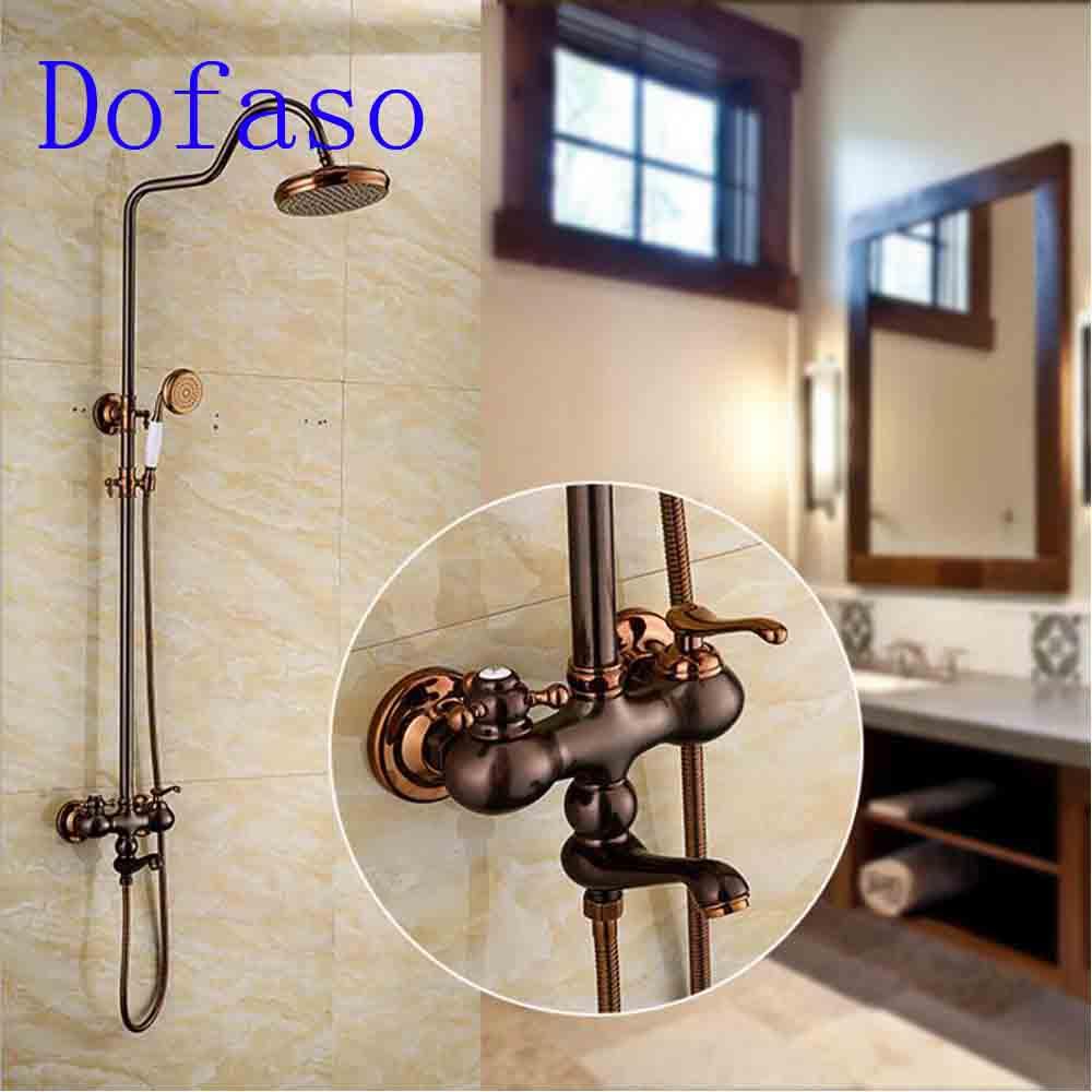Dofaso luxury antique black shower faucet rose coffee color vintage brass bath shower mixer faucets 8 39 39 head shower in Shower Faucets from Home Improvement