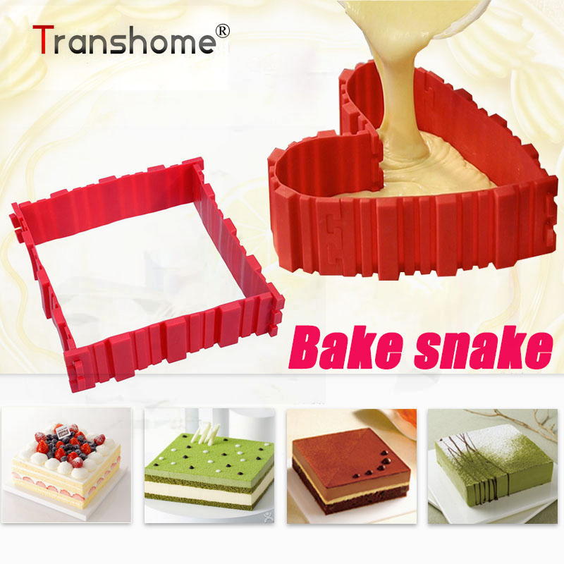 Transhome Ciasto Silikonowe Formy Ciasto Narzędzia Magiczne akcesoria do pieczenia Heart Shade Okrągły cień Bake Snake Cake Mold dekorowanie narzędzia