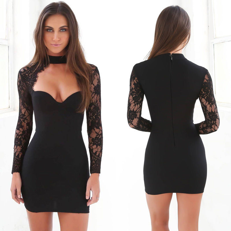 Low cut bodycon mini dress mall design
