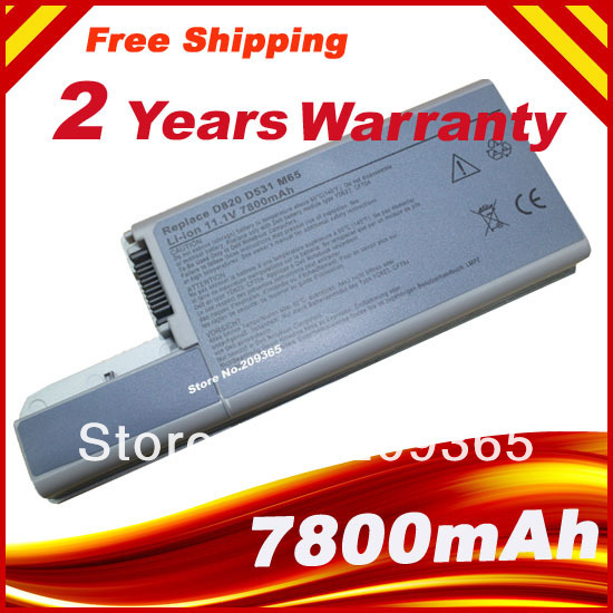 9 CELL 7800mAh Laptop Battery for Dell Latitude D820 D830 M65 DF192 CF623 D531 D531N 312-0393 M4300 Free shipping