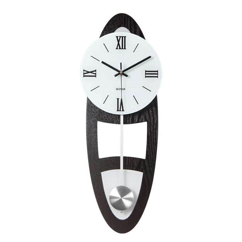 Meijswxj Grand Mur Horloge Saat en bois Massif Mur Horloges Relogio de parede Duvar saati salon Chambre Quartz Décoratif horloges