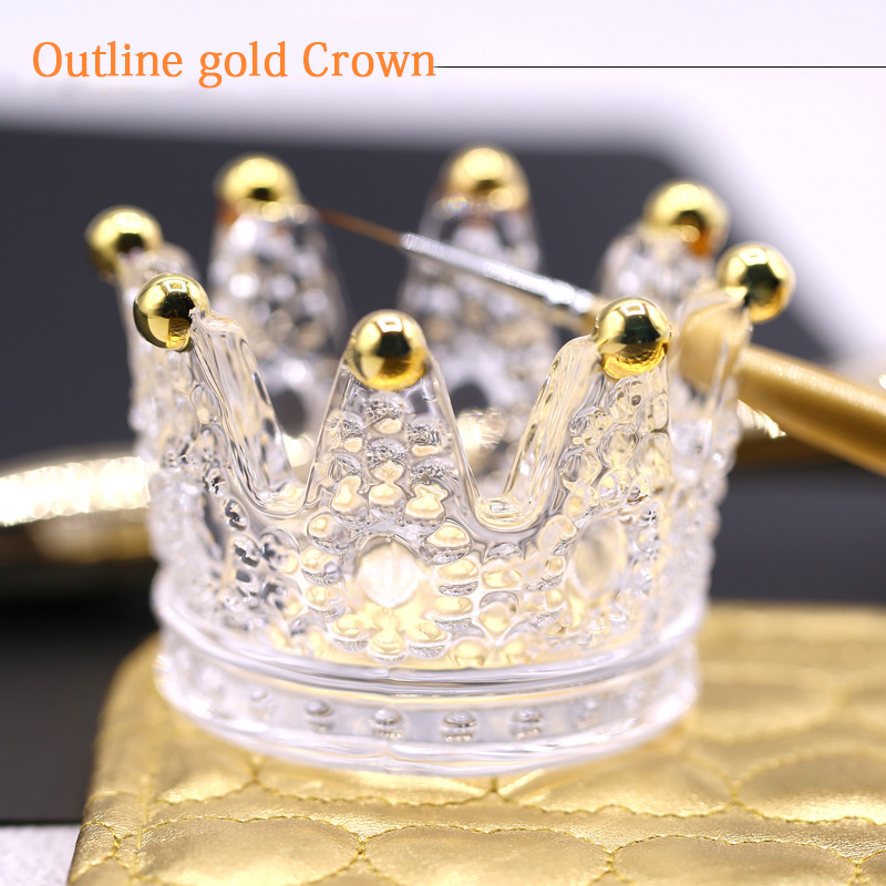 Three-dimensional Embossed Glass Crown Nail Brush Displayer Stand Acrylic UV Gel Painting Pen Displayer Holder Manicure Tools(China)