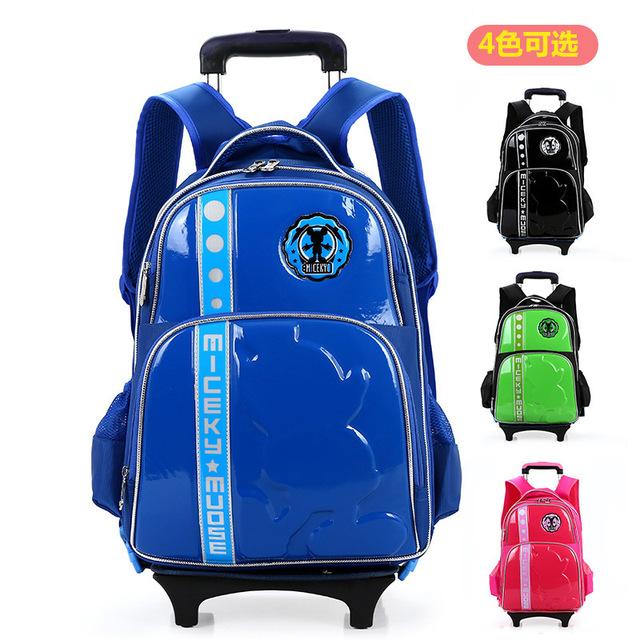 Nueva Venta Al Por Mayor al por menor los niños de dibujos animados bolsas de barra de tracción de ruedas mochila escolar niños bookbag viajes equipaje con ruedas para el regalo de niño
