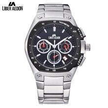 Liber Aedon Multfuction Stainless Steel Top Brand Luxury Waterproof Sport Military Quartz Clock Wrist Watch for Men Relogio