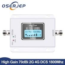 GSM LTE 1800 LCD 70dB kazanç 2g 4g cep telefon sinyal tekrarlayıcı DCS 1800MHz mobil amplifikatör GSM hücresel sinyal güçlendirici rusya