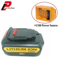Li Ion 18V 20V 4000mAh Replacement Power Tool Battery for DEWALT DCB182,DCB183,DCB200,DCB204 Rechargeable with USB Power Source