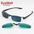 New chegada de moda liga frame ótico metade aro venda quente com clip-on conjuntos de lentes de óculos de sol e óculos de visão noturna de condução de pesca 680