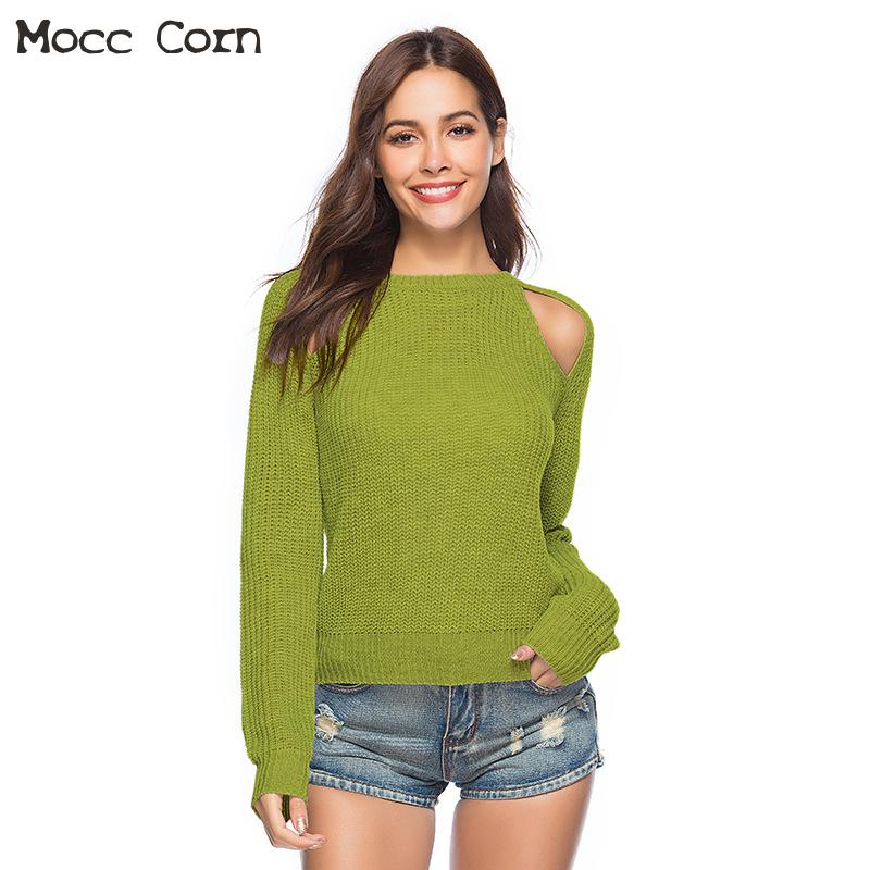 Autumn Winter Sexy <font><b>Pullover</b></font> O-neck Long Sleeve Off Shoulder <font><b>Ribbed</b></font> Sweater Women Solid <font><b>Hollow</b></font> <font><b>Out</b></font> Slim Womans Sweaters Jumpers