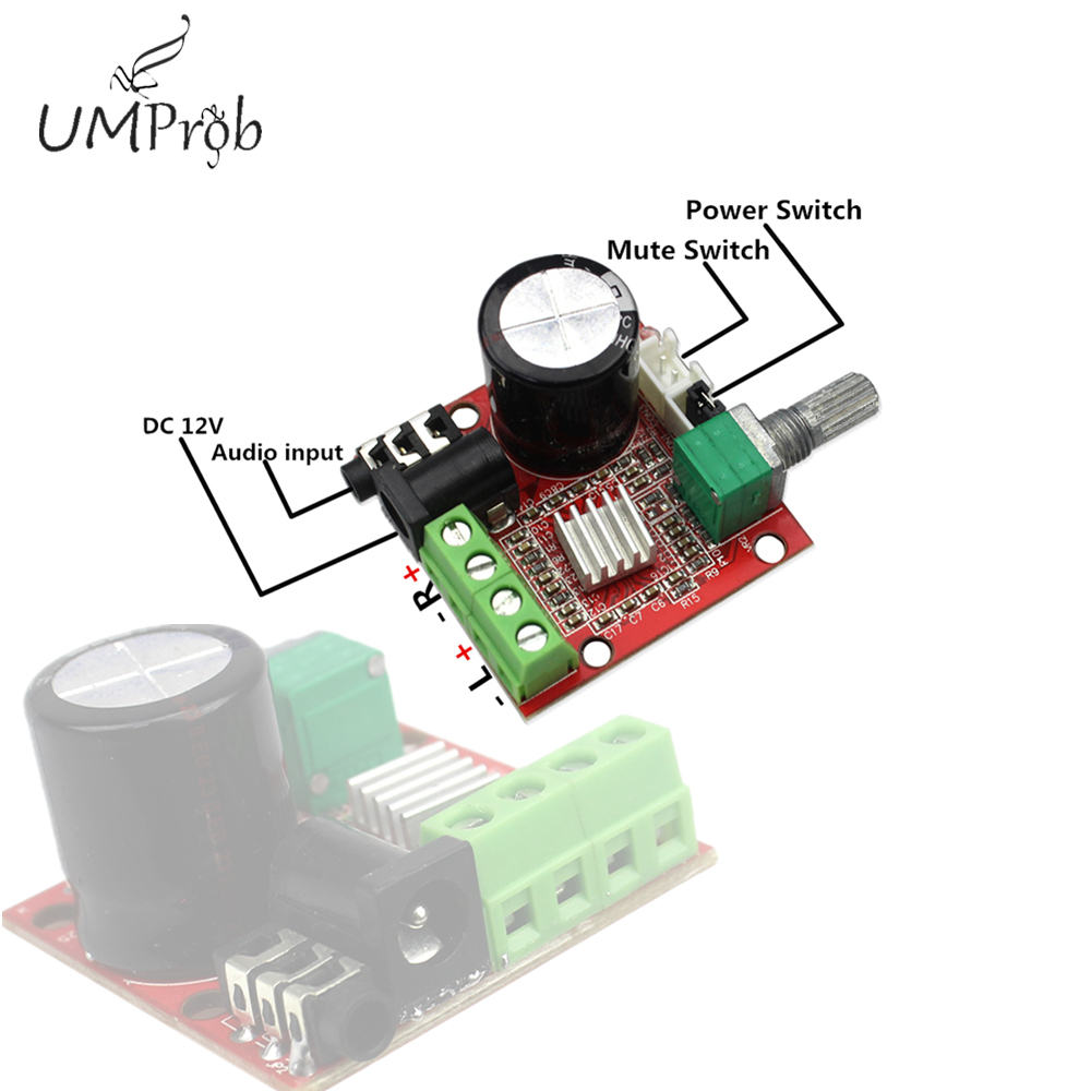 12V Mini Hi-Fi PAM8610 Audio Stereo <font><b>Amplifier</b></font> Board 2X10W Dual Channel D Class Module image