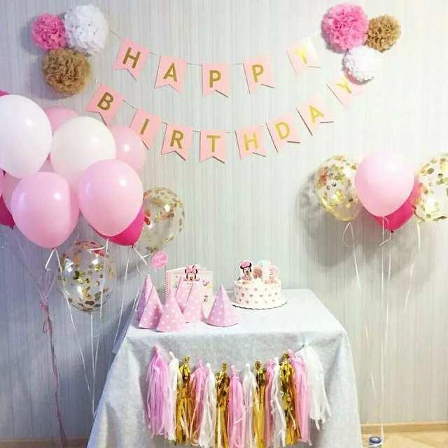 Online Shop Baby Shower Happy Birthday Banner Pink Gold Paper Garland Boy Girl Favors Christening Decoration Kids Party Supplies