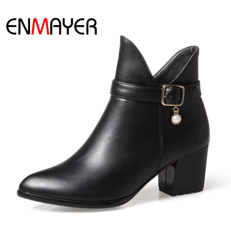 ENMAYER Women Snow Boots Fashion Shoes Square Heel Zippers Women Shoes Black Red High Quality Warm Boots Woman Large Size 34-43 enmayer woman high heel ankle boots round toe zippers shoes women large size platform boots warm shoes for ladies black white