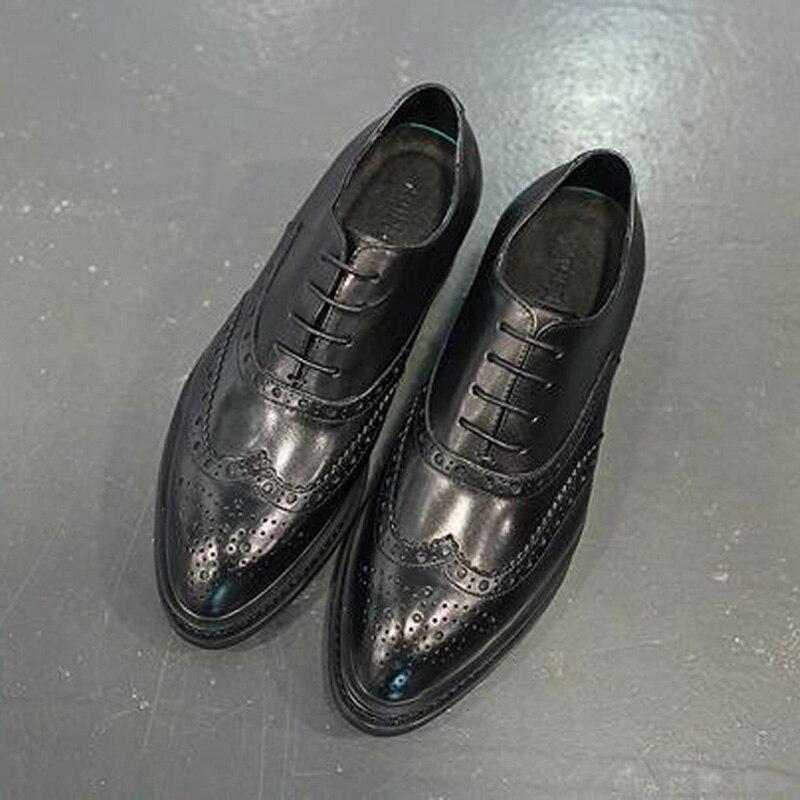 Tamanho Black De Oxfords Negócios Homens 43 Sapatos Apontado Xingdeng Britânica 38 Couro Primavera Brogue Vestir Dedo Vaca Camurça q6TAwtAx