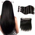 Peerless Virgem do cabelo Da Malásia lace frontal com 3 pacote de Orelha a Orelha 13x4 lace frontal Não Transformados reta Malaio cabelo virgem