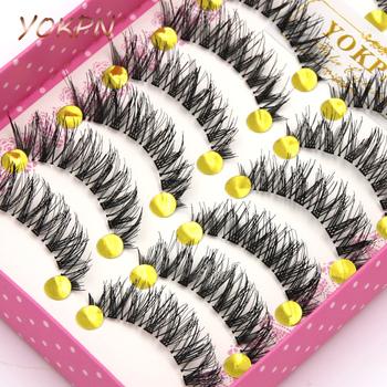 873d59bd398 Find Deals YOKPN Makeup False Eyelashes Eyelash 1 Box 10 Pairs Of False  Eyelashes Naturally Thick Stage Cross False Eyelashes Smoky Makeup
