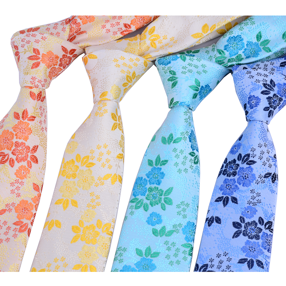 GUSLESON Silk tie for Men Colorful Floral Necktie Corbatas Hombre 7cm Gravata Slim Tie Formal Social