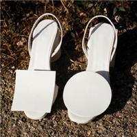 Women Open Toe Geometric Chunky Block Heel Sandals Slingbacks Buckle Shoes Summer White Blue