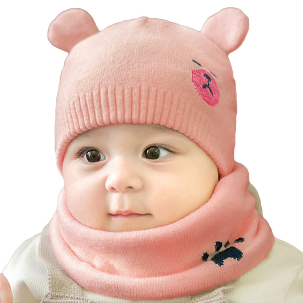 2pcs/Set Fashion Newborn Hats Knitted Warm Bear Round Machine Cap Protects Ear Bonnet Kids Winter Caps + Scarf Beanies