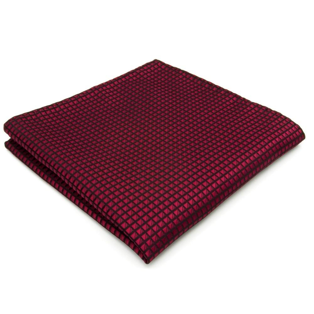 Stevige geblokte Bordeauxrode Crimson rode zwarte zakdoeken Hanky - Kledingaccessoires