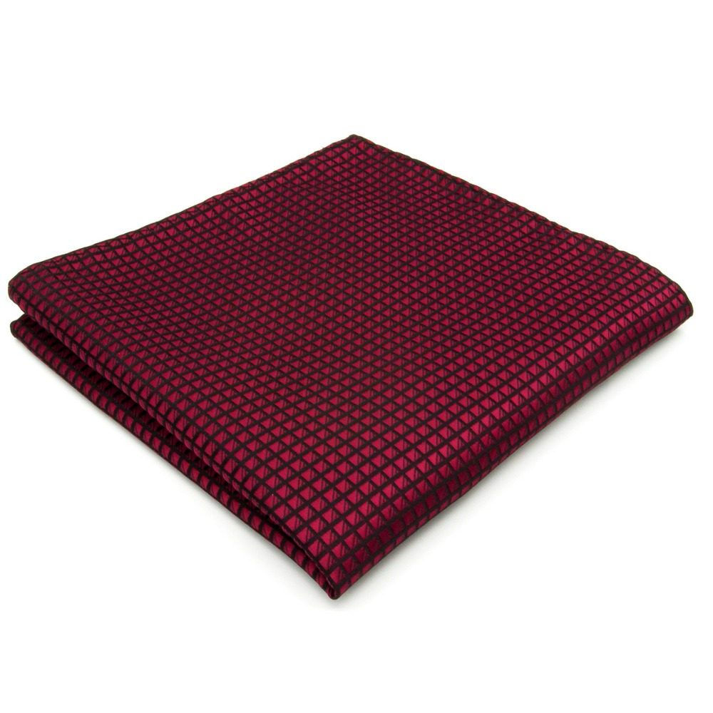 Solid Red Burgundy Crimson Pocket Square Handkerchief Large 12.6