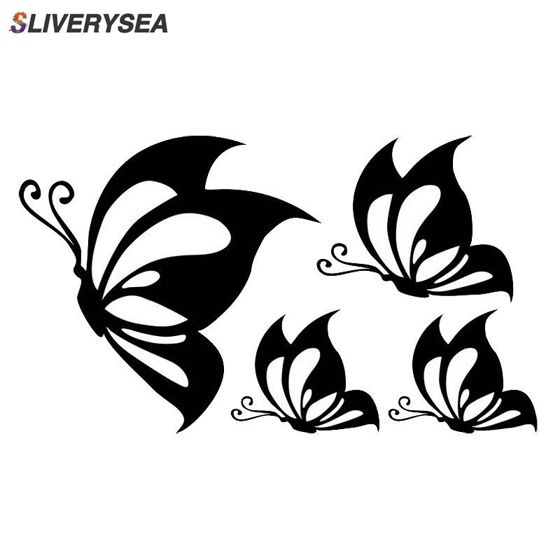 4pcs / lot Butterfly Car Stickers and Decals Stylish Vinyl Motorcycle Car styling Auto Truck Decoration Universal #B1422